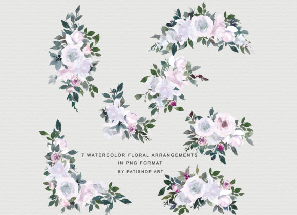 White Pink Watercolor Floral Clipart Set Graphic Illustrations By Patishop Art - Image 7