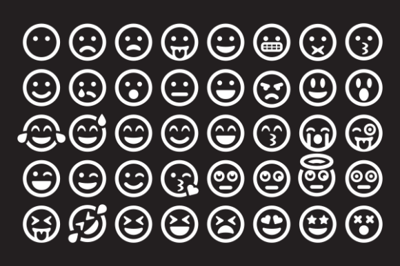 Print on Demand: White in Black Emoticon Set Graphic Icons By Masnung