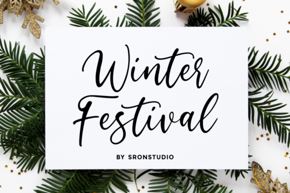 Print on Demand: Winter Festival Script & Handwritten Font By Sronstudio