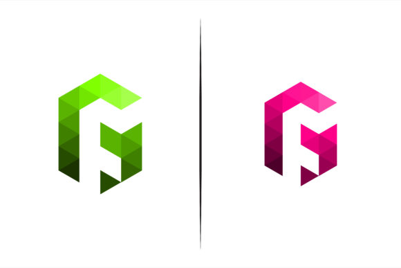 Print on Demand: Triangle Polygonal Pink Green Logo Graphic Logos By noory.shopper