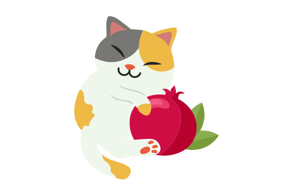 Download Free Cat Hugging Pomegranate Svg Cut File By Creative Fabrica Crafts for Cricut Explore, Silhouette and other cutting machines.