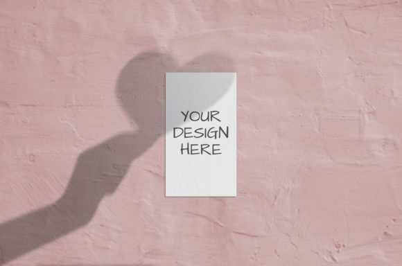 Print on Demand: Business Card Mockup with Shadows Heart Graphic Product Mockups By Natalia Arkusha