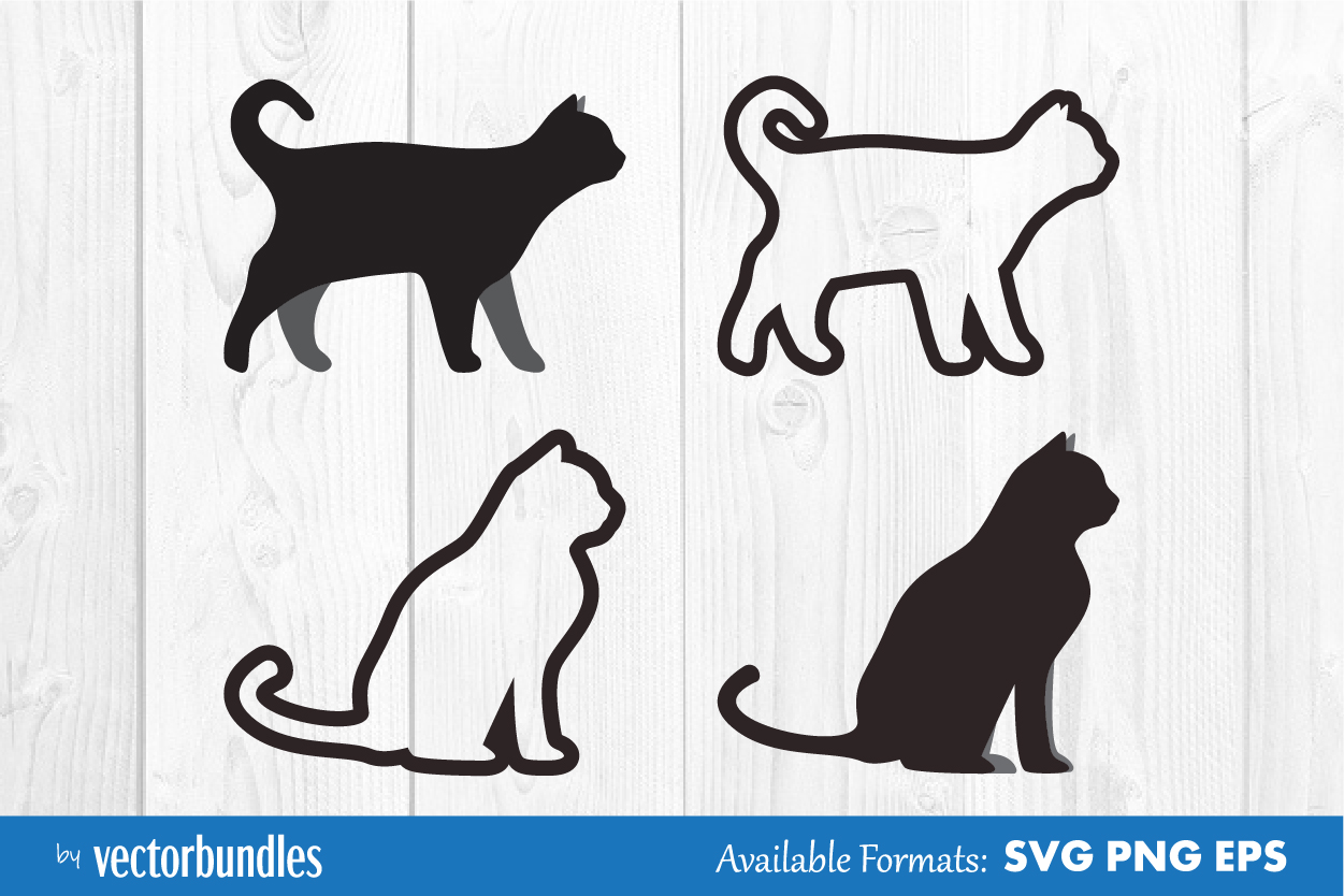 Download Free Cat Animal Clip Art Graphic By Vectorbundles Creative Fabrica for Cricut Explore, Silhouette and other cutting machines.
