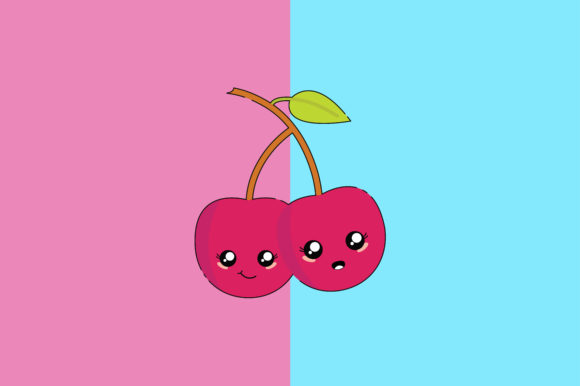 Download Free Cherry Kawaii Cute Illustration Graphic By Purplebubble for Cricut Explore, Silhouette and other cutting machines.