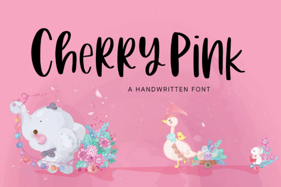 Print on Demand: Cherry Pink Script & Handwritten Font By PaulaType