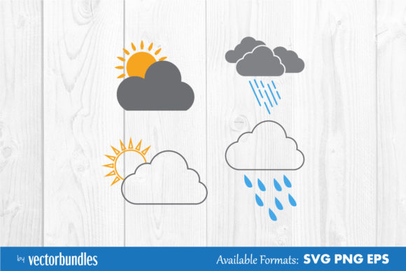 Download Free Cloud Weather Clip Art Graphic By Vectorbundles Creative Fabrica for Cricut Explore, Silhouette and other cutting machines.