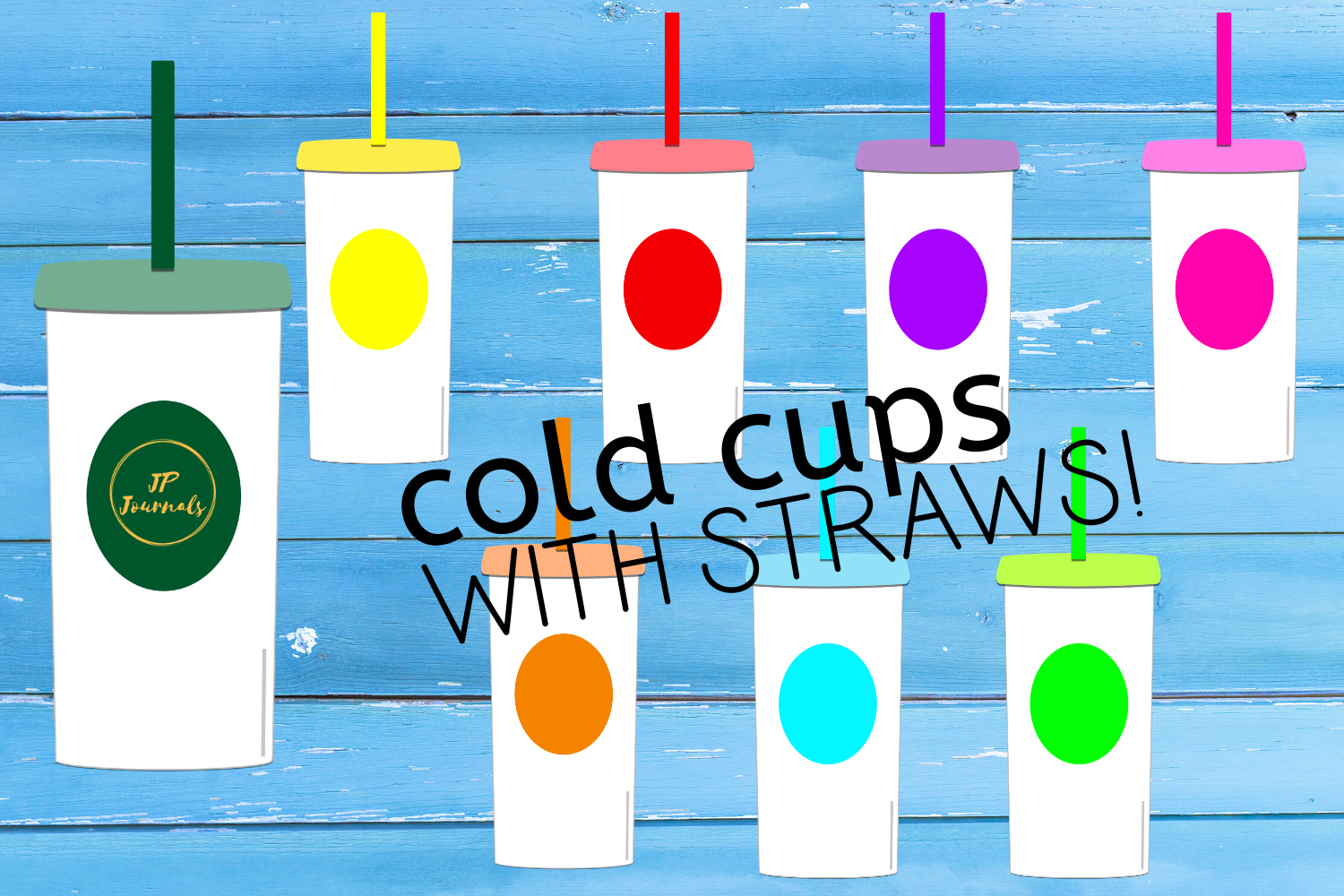 Download Free Cold Cups With Straws Clip Art Graphic By Jpjournalsandbooks for Cricut Explore, Silhouette and other cutting machines.