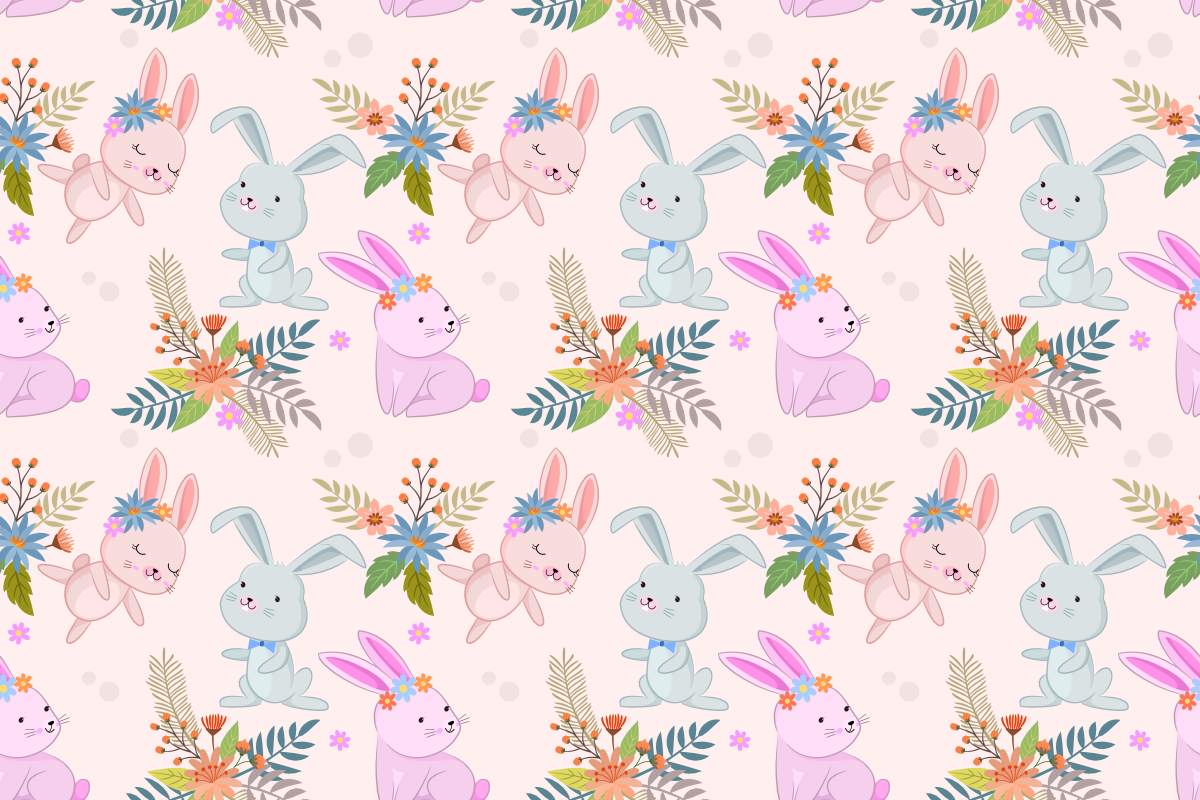 Download Free Cute Bunny In Flowers Garden Pattern Graphic By Ranger262 for Cricut Explore, Silhouette and other cutting machines.