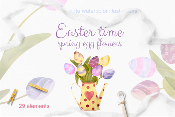 Print on Demand: Easter Time. Set Watercolor Egg Flowers Graphic Illustrations By Natalia Arkusha