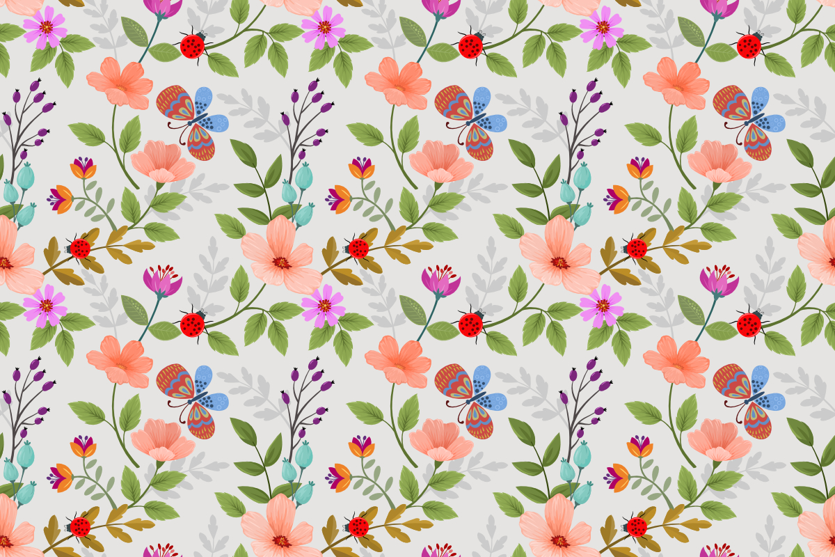 Download Free Flowers And Butterfly Seamless Pattern Grafico Por Ranger262 SVG Cut Files