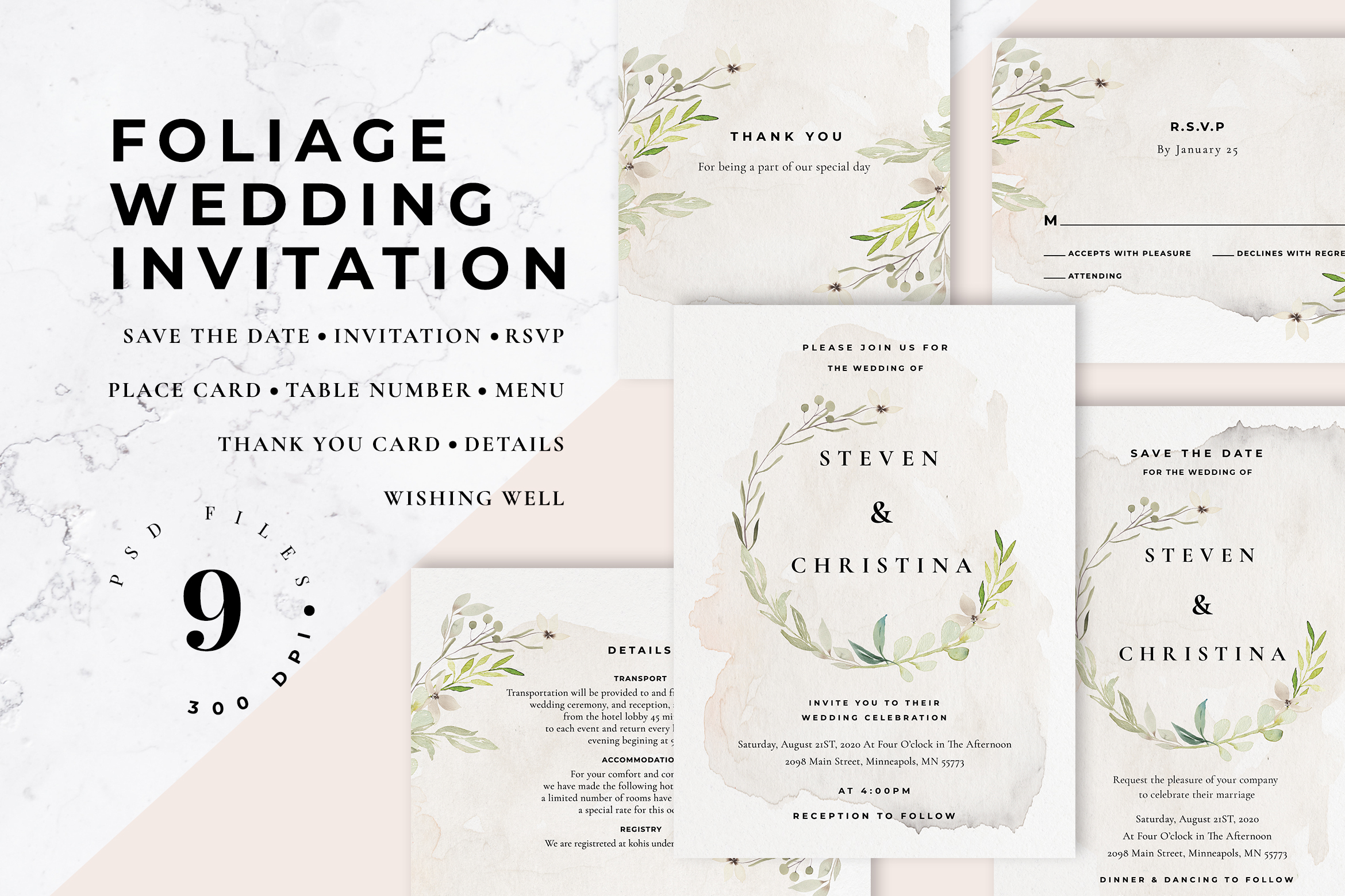 Download Free Foliage Wedding Invitation Graphic By Azka Creative Creative for Cricut Explore, Silhouette and other cutting machines.