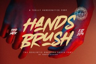 Print on Demand: Hands Brush Display Font By Graphicfresh