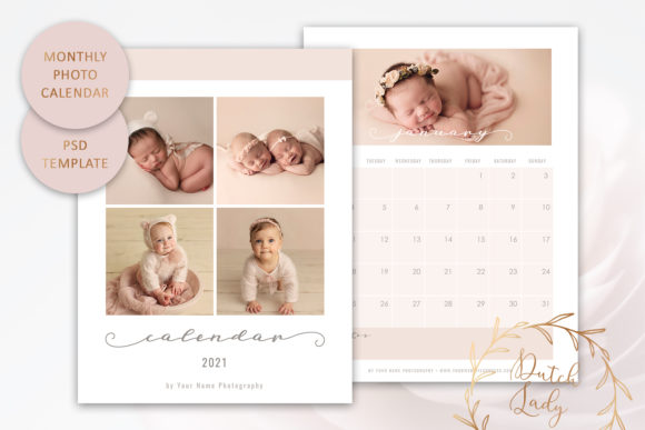 Print on Demand: PSD Photo Calendar Template 2021 #2 Graphic Print Templates By daphnepopuliers