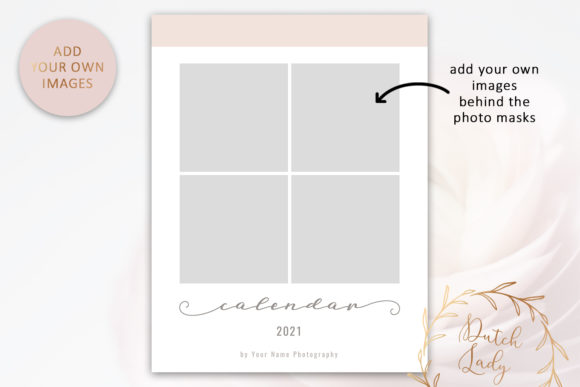 Download Free Psd Photo Calendar Template 2021 2 Graphic By Daphnepopuliers Creative Fabrica for Cricut Explore, Silhouette and other cutting machines.