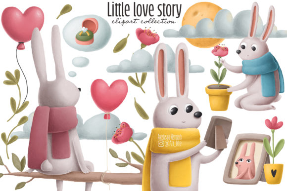Print on Demand: Rabbits Love Story Clipart Set Graphic Illustrations By Architekt_AT