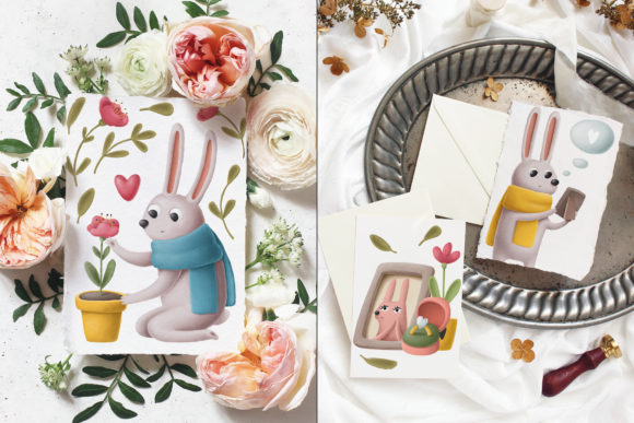 Print on Demand: Rabbits Love Story Clipart Set Graphic Illustrations By Architekt_AT - Image 2