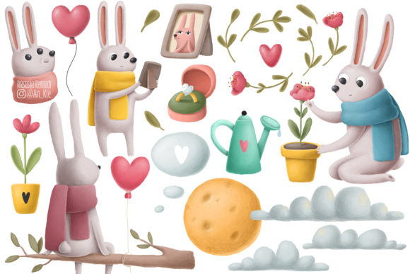Print on Demand: Rabbits Love Story Clipart Set Graphic Illustrations By Architekt_AT - Image 4