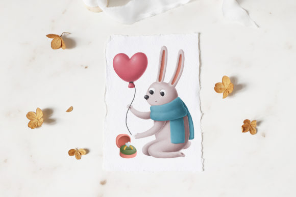 Print on Demand: Rabbits Love Story Clipart Set Graphic Illustrations By Architekt_AT - Image 7