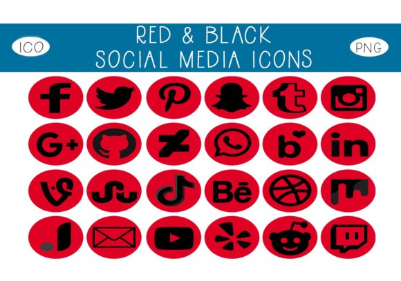 Print on Demand: Red & Black Social Media Icons Graphic Icons By capeairforce - Image 1