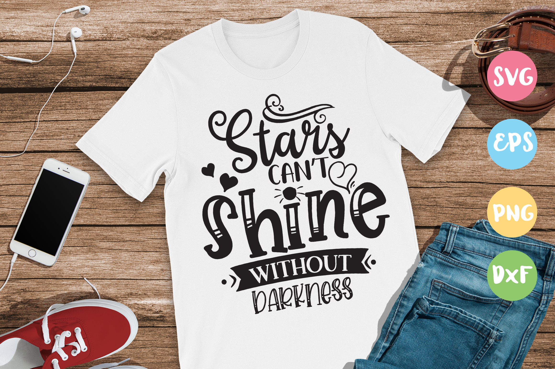Download Free Stars Can T Shine Without Darkness Graphic By Designfarm for Cricut Explore, Silhouette and other cutting machines.