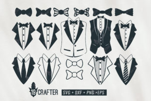 Download Free Tuxedo Gentlemen Suit Bundle Graphic By Great19 Creative Fabrica for Cricut Explore, Silhouette and other cutting machines.