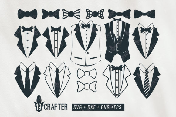 Print on Demand: Tuxedo Gentlemen Suit Bundle Graphic Crafts By great19