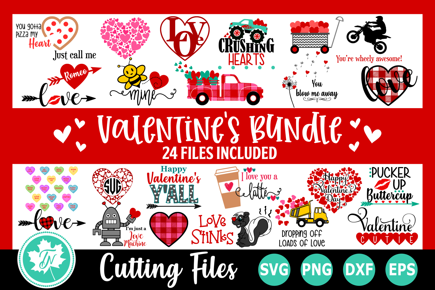 Download Free Valentine Bundle Graphic By Truenorthimagesca Creative Fabrica for Cricut Explore, Silhouette and other cutting machines.