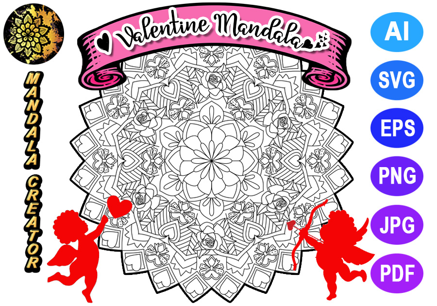 Download Free Valentine Mandala For Adult Coloring 04 Graphic By Mandala for Cricut Explore, Silhouette and other cutting machines.