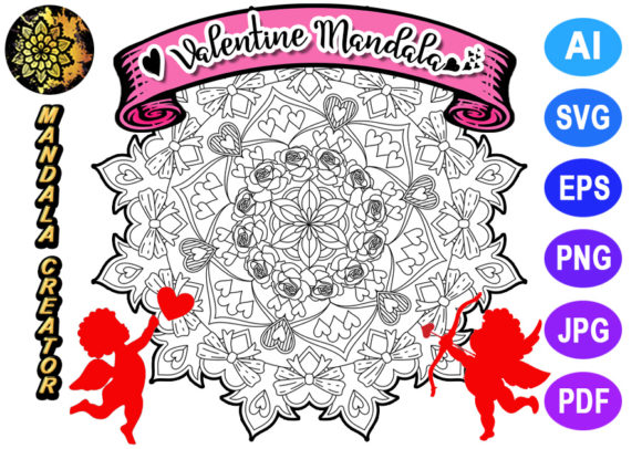 Print on Demand: Valentine Mandala for Adult Coloring -05 Graphic Coloring Pages & Books Adults By V-Design Creator