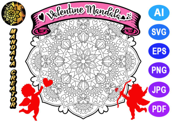 Print on Demand: Valentine Mandala for Adult Coloring -07 Graphic Coloring Pages & Books Adults By V-Design Creator