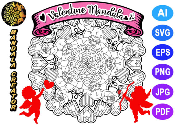 Print on Demand: Valentine Mandala for Adult Coloring -10 Graphic Coloring Pages & Books Adults By V-Design Creator