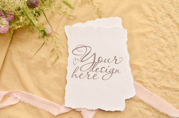 Print on Demand: Wedding Stylish Greeting Card Mockup Graphic Product Mockups By Natalia Arkusha