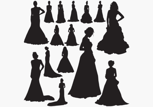 Download Free Wedding Dresses Silhouettes Graphic By Octopusgraphic Creative for Cricut Explore, Silhouette and other cutting machines.