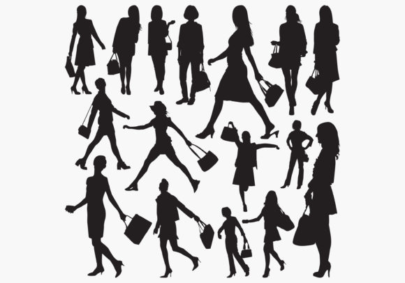 Woman Holding Purse Silhouettes Graphic Crafts By octopusgraphic
