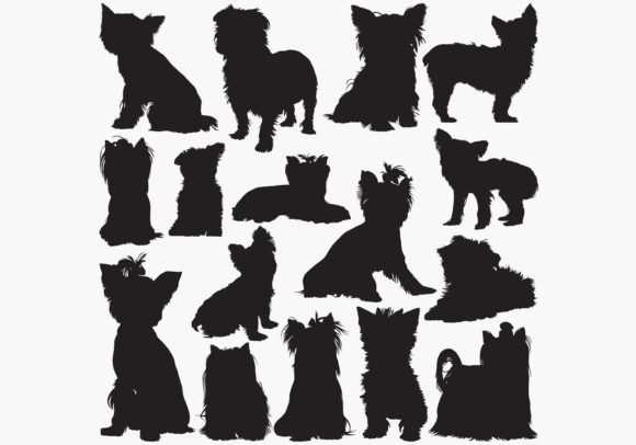 Yorkshire Terrier Silhouettes Graphic Crafts By octopusgraphic