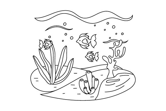 Undersea Scene (line Art Style) Nature & Outdoors Craft Cut File By Creative Fabrica Crafts