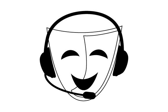 Download Free Comedy Drama Mask With Stage Manager Headset Svg Cut File By for Cricut Explore, Silhouette and other cutting machines.