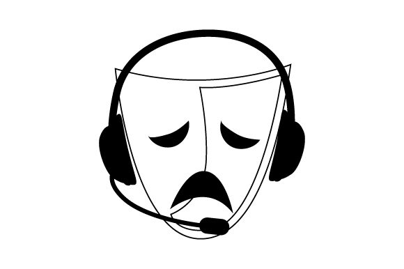 Download Free Tragedy Drama Mask With Stage Manager Headset Svg Cut File By for Cricut Explore, Silhouette and other cutting machines.