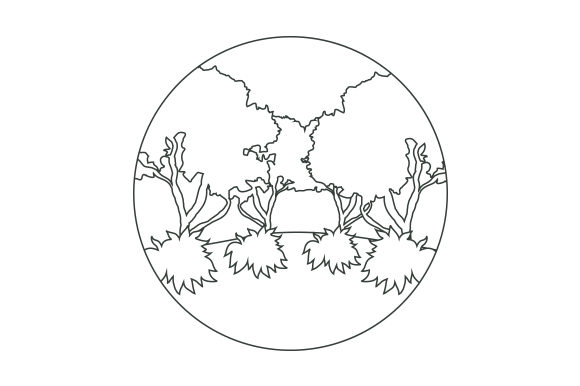 Forest Scene Line Art Style Nature & Outdoors Craft Cut File By Creative Fabrica Crafts