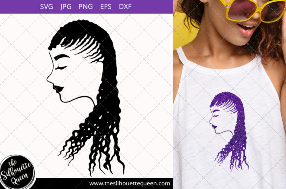 Afro Woman with Cornrow Dreads Graphic Crafts By thesilhouettequeenshop