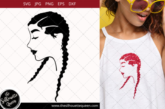 Afro Woman with Cornrows Graphic Crafts By thesilhouettequeenshop