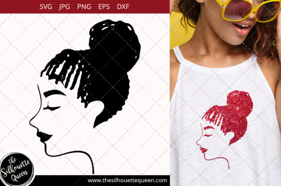 Afro Woman with Cornrows and a Bun Graphic Crafts By thesilhouettequeenshop