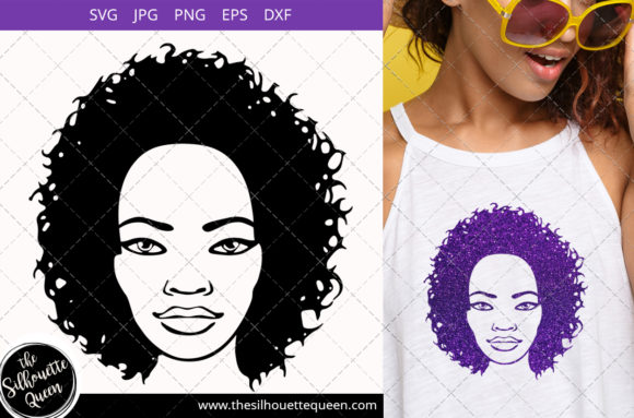 Afro Woman with Curly Bob Natural Graphic Crafts By thesilhouettequeenshop