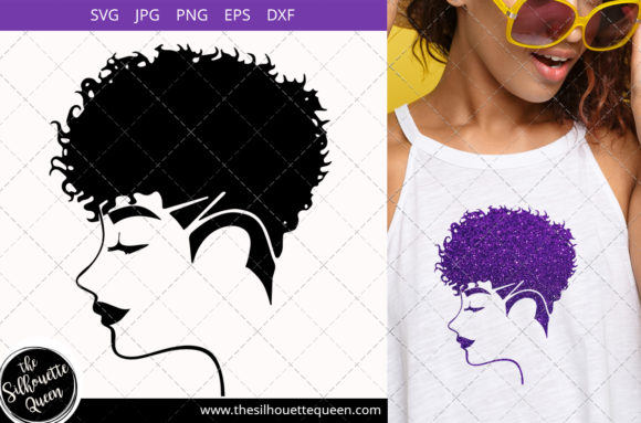 Afro Woman with Curly Pixie Undercut Graphic Crafts By thesilhouettequeenshop