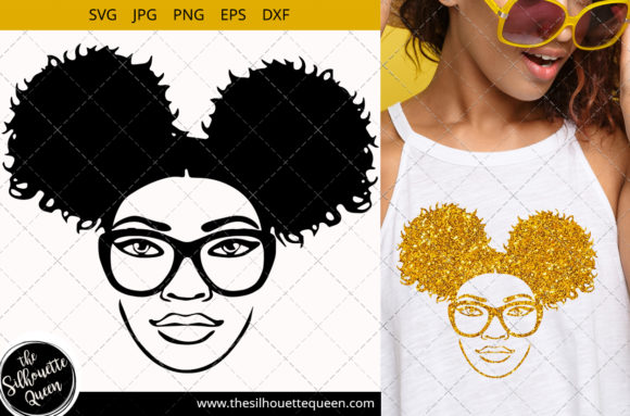Download Free Afro Woman With Glasses And Side Puff Graphic By for Cricut Explore, Silhouette and other cutting machines.