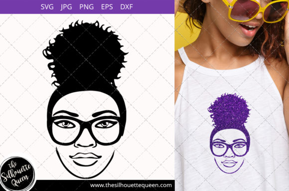 Download Free Afro Woman With Glasses And A Puff Graphic By for Cricut Explore, Silhouette and other cutting machines.