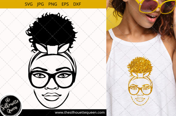 Afro Woman with Glasses and a Puff Graphic Crafts By thesilhouettequeenshop