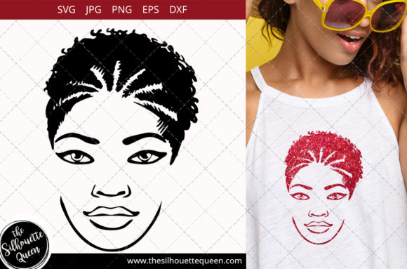 Afro Woman with High Braided Pony Graphic Crafts By thesilhouettequeenshop