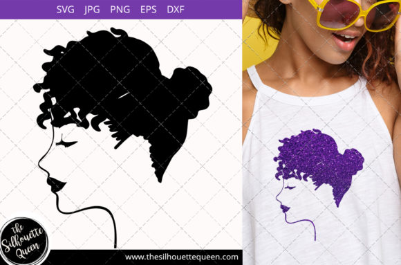 Afro Woman with Natural Curly Hair Graphic Crafts By thesilhouettequeenshop