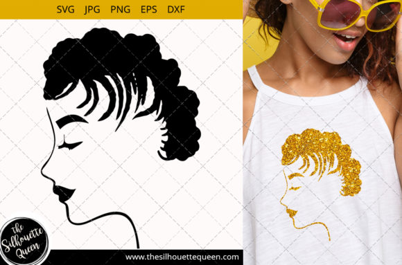 Afro Woman with Short Cornrows Graphic Crafts By thesilhouettequeenshop